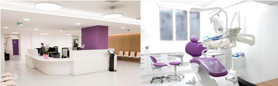 Infos pratiques : hall d'accueil et fauteuil dentaire du Centre Broca
