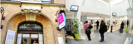 Infos pratiques : façade et hall d'accueil du Centre Jack Senet