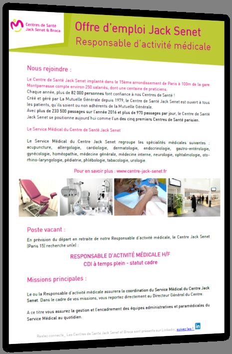 Nous rejoindre : Vos Centres de Santé Jack Senet et Broca recrutent !