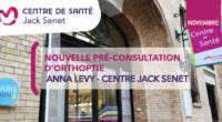 Afin de compléter son offre de soins, le Centre de Santé Jack Senet a le plaisir d'accueillir Anna Lévy, orthoptiste pour des pré-consultations d'orthoptie tous les lundis et mercredis de 9h à 18h.